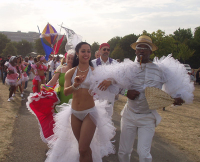 ¡SÍAA-KARÁAA! London's first Cuban Carnival Comparsa founded 2002 performing in Burgess Park